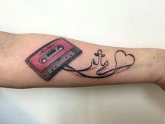 Cassette tape anchor heart love tattoo. Done by Mel van Hel, Lingen (Germany)