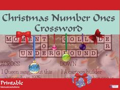 Christmas Number Ones Crossword for Secondary Can you name these Christmas number ones? A great filler activity. Number One, Christmas Music, Crossword, Teaching Resources, Singing, Seasons, Cartoon, Activities, Holiday Decor