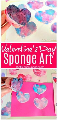 Fun and easy Valentine's Day crafts for kids to make. Art projects at school or preschool. The Flying Couponer. day crafts for kids Valentine's Day Sponge Art Toddler Valentine Crafts, Kinder Valentines, Valentines Day Activities, Valentines Day Crafts For Preschoolers, Valentines Art For Kids, Valentines Hearts, Valentines Bricolage, Valentine's Day Crafts For Kids, Kids Diy