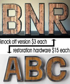 Easy DIY knock off version of the Restoration Hardware Vintage Industrial Letters - save $12 PER LETTER