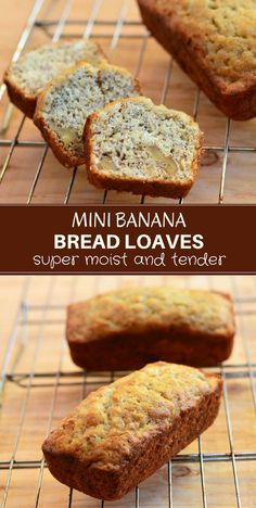 Mini Banana Bread Loaves are the perfect way to use up ripe bananas! With super moist, tender crumb generously studded with crunchy walnuts and loaded with banana flavor, they're fabulous for breakfast or midday snack. And they make great gifts, too! #bakedgoods #quickbread #snack #breakfast #banana #breadloaf #homemade #foodgifts