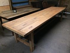 320cm Large Antique oak 4 plank top with matching benches