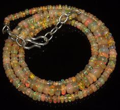 """38Ctw1Necklace 2to5.5 mm 18""""Beads Natural Genuine Ethiopian Welo Fire Opal R5879"""