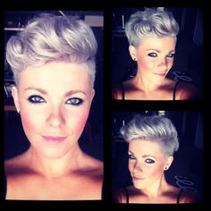 Love the bit of curl and I absolutely adore the color in this...this makes me wanna cut my sides more#shorthair crop
