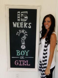 Love the chalkboard idea for weekly pregnancy photos... she updates it with relevant info about the week