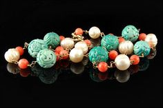 Old Chinese 18k Gold Carved Turquoise Shou by SummitTreasures