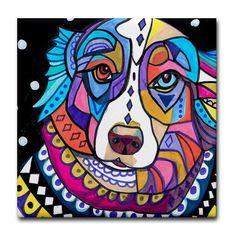 Australian Shepherd Dog Art Tile Coaster Ceramic Tile Angel Dog GALLER