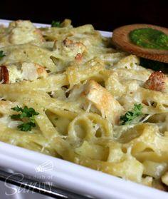 Creamy Pesto Alfredo Chicken Fettuccine Bake Recipe ~ Pesto mixed with my Chicken Fettuccine Bake is one killer combination.
