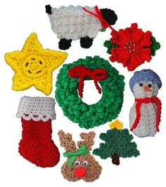 Homemade Christmas ornaments make for a special decoration on your tree. The adorable ornaments found in the Christmas Ornaments Set 2 Pattern are the right choice if you want to make some festive decorations. These little decorations work well hanging from the Christmas tree or attached to a Christmas present as an extra little flare. You can even make these classic holiday designs to decorate a wreath or hang from fireplace mantle. Crochet Christmas ornaments are unbreakable, making them