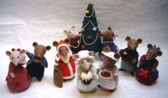Dickensian Party Mice! Pattern pdf available -- created by Alan Dart