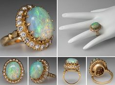 VINTAGE CRYSTAL OPAL COCKTAIL RING W/ DIAMOND HALO 18K GOLD - Eragems