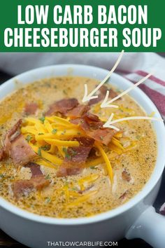 Bacon cheeseburger soup has all the flavors of my favorite burger but it's perfect for chilly nights and so filling! My family devours this low carb soup recipe and I bet yours will too! #lowcarbsoup #ketosoup Sugar Free Recipes Healthy, Low Carb Soup Recipes, Primal Recipes, Recipes Dinner, Lunch Recipes, Beef Recipes, Healthy Life, Healthy Food, Bacon Cheeseburger Soup