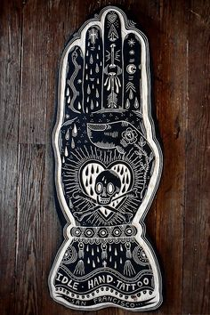 Tattoo inspired woodcut - YES! [for Idle Hand Tattoo in San Francisco. 2013]