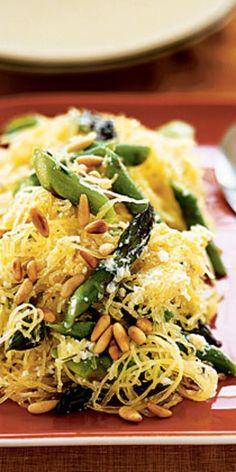 Creamy Spaghetti Squash with Asparagus and Rosemary