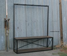 Vintage Industrial Coat Rack with Seat/Bench. Mid Century Modern. Reclaimed Wood. Made to order (customized).