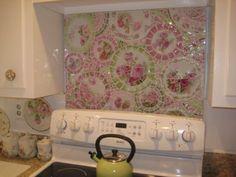 Floral Mosaic Kitchen Wall Back splash by Nancy of Romancing the Rose Studio (seen on Lu Lu's Fluffy Ruffles: EEEEEKKKKKKK!!!!!!!!!)