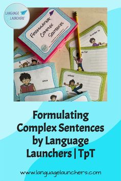 Practice more complex grammatical formulation with this deck. Each card has a word that needs to be used in a sentence (verbal or written) related to the picture. #grammar, #SLP, #languagedevelopment, #NLL, #ENL Verbal Communication Skills, Hearing Impairment, Complex Sentences, Direct Instruction, English Language Learners, Language Development, Speech And Language, Small Groups, Grammar