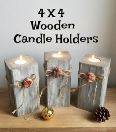 51 Ideas wood diy outdoor candle holders for 2019 Christmas Candle Holders, Rustic Candle Holders, Rustic Candles, Diy Candles, 4x4 Wood Crafts, Wood Block Crafts, Diy Wood Projects, Wood Projects That Sell, Rustic Crafts