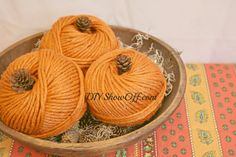 DIY Yarn Pumpkins