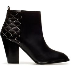 Zara Quilted High Heel Ankle Boot ($129) ❤ liked on Polyvore