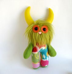 Long Haird Stuffed Animal Monster Doll Plush Toy by FluffyFlowers