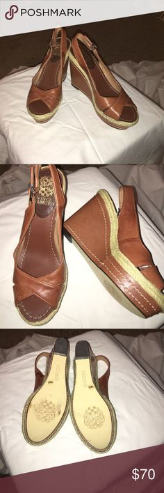 Leather Vince Camuto wedges Brown leather Vince Canuto platform wedges.....3 inches worn twice and in perfect condition Vince Camuto Shoes Wedges