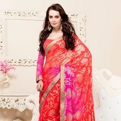 Red and Fuchsia Faux Georgette Saree with Blouse