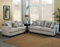 """<p> 2 pc Avia collection pumice colored fabric upholstered sofa and love seat set with square set back arms. This set comes with a sofa and love seat with fabric upholstery and accent throw pillows. Sofa measures 82"""" x 38"""" x 37"""" H. Love seat measures 61"""" x 38"""" x 37"""" H. Chair and ottoman also available separately.%..."""