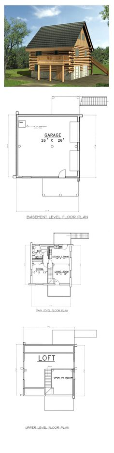 Narrow Lot Style House Plan 87148 with 1 Bed, 1 Bath, 2 Car Garage Log Home Kits, Log Home Plans, House Plans, Log Home Builders, Small Log Homes, Types Of Houses, Car Garage, Living Area, Floor Plans