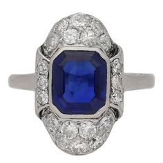 Art Deco Natural Sapphire Diamond Platinum Ring | See more rare vintage Engagement Rings at https://www.1stdibs.com/jewelry/rings/engagement-rings