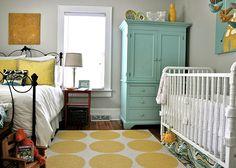 Gray paint + turquoise cabinet+ pops of yellow