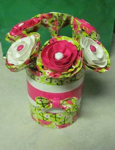 Duct Tape Flamingo Pens with Matching Vase