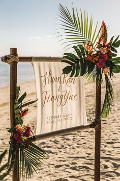You Will Love the Chic Tropical Styling of This Intimate Wedding by the Sea! You Will Love the Chic Tropical Styling of This Intimate Wedding by the Sea! Tropical Wedding Decor, Boho Beach Wedding, Beach Wedding Reception, Beach Wedding Inspiration, Beach Ceremony, Beach Wedding Decorations, Hawaii Wedding, Wedding Ideas, Tropical Wedding Centerpieces