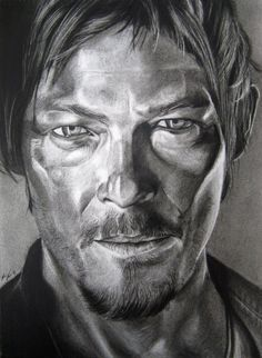 daryl by burnt-sticks on deviantART - charcoal drawing - actor Norman Reedus as Daryl Dixon from The Walking Dead