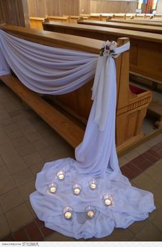 Love how the back of the church pew bench is highlighted with a simple drape. - Love how the back of the church pew bench is highlighted with a simple drape. Love how the back of the church pew bench is highlighted with a simple drape. Wedding Pews, Wedding Chairs, Wedding Table, Wedding Bouquets, Rustic Wedding, Wedding Church Aisle, Church Weddings, Pew Decorations, Church Wedding Decorations