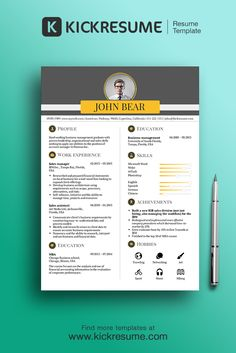 Get your perfect resume in 15 minutes! Visit us at www.kickresume.com  (resume sample,  cv sample, cv template, creative resume, cv design)