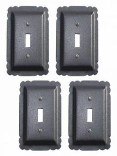 4 Switchplate Black Steel Single Toggle