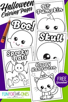 Free Halloween Coloring Pages for Kids - Fun for Little Ones Halloween Coloring Pages Printable, Halloween Coloring Sheets, Printable Coloring, Halloween Prints, Halloween Fun, Halloween Bunting, Coloring Pages For Kids, Coloring Books, Coloring Worksheets