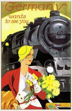 transpress nz: Germany travel poster, 1930s