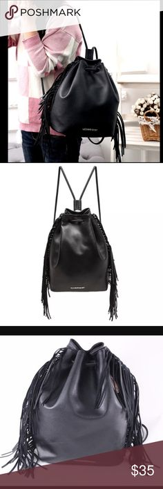 "🆕 Fashion Show 2015 Fringe Drawstring Bag * Authentic Victoria's Secret drawstring bag * Fashionable fringe design bag suitable for daily use * Material: Faux leather * Metal logo on top 🆕 NWT Measurements: 15""L x 14""H x 10.5""W PINK Victoria's Secret Bags Backpacks"
