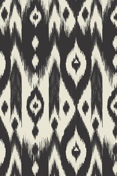 Black & Cream Tribal Ikat by bohemiangypsyjane - Deep gray/black on a cream background in a tribal ikat pattern on fabric, wallpaper, and gift wrap. Etnic Pattern, Ikat Pattern, Fabric Patterns, Print Patterns, Black Pattern, Tribal Pattern Wallpaper, Fabric Wallpaper, Black And Cream Wallpaper, Tissu Ikat
