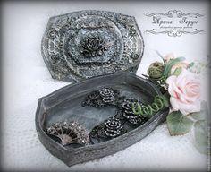Купить Шкатулка старое серебро - серебряный, шкатулка для украшений, шкатулка, шкатулка декупаж