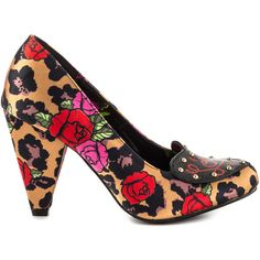 Iron Fist Women's Leopard Garden Heel - Leop ($50) ❤ liked on Polyvore featuring shoes, multicolor shoes, multi color shoes, multi colored high heel shoes, colorful shoes and synthetic shoes