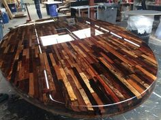 Stacked wood with liquid gloss Coating.nl