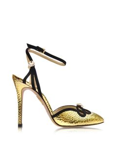 Charlotte+Olympia+Modern+Minx+Martele+Golden+Leather+and+Suede+Sandal
