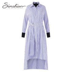 Simshion Women Striped Dresses Spring Autumn Fashion Stitching Long Sleeves Blue Vestidos With Sash Female One Size. Click visit to buy