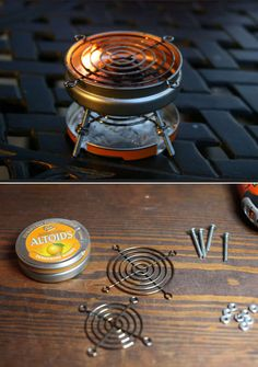 DIY: Tabletop S'mores Mini Grill using tin containers. See more modification… DIY: Tabletop S'mores Mini Grill using tin containers. See more modifications here www. Mini Grill, Bbq Grill, Grilling, Camping Grill, Small Grill, Camping Cooking, Altoids Sours, Altoids Tins, Materiel Camping