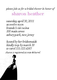 Bridal Shower Invitation-Here Comes the Bride
