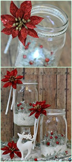 Holiday Mason Jar Luminary Instruction -DIY Christmas Mason Jar Lighting Craft Ideas