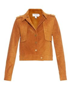 The were on Frame Denim's mind when designing its Le Cropped suede jacket. It's made from retro tan-brown shade with a point collar, epaulets, storm flaps and gold-tone button fastenings. Wear it to instantly upgrade a favourite white T-shirt and jeans. Tan Jacket, Suede Jacket, Cute Jackets, Retro Jackets, Workwear Fashion, Women's Fashion, Spring Jackets, T Shirt And Jeans, Lightweight Jacket